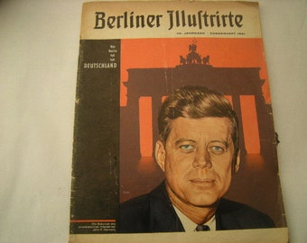 vintage magazine-Magazine in german-berliner illustrated-1961 magazine-Kennedy cover-
