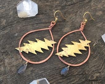 Grateful Dead Bolt earrings / 13 points /labradorite / hoop handmade jewelry / jerry garcia / dead and company
