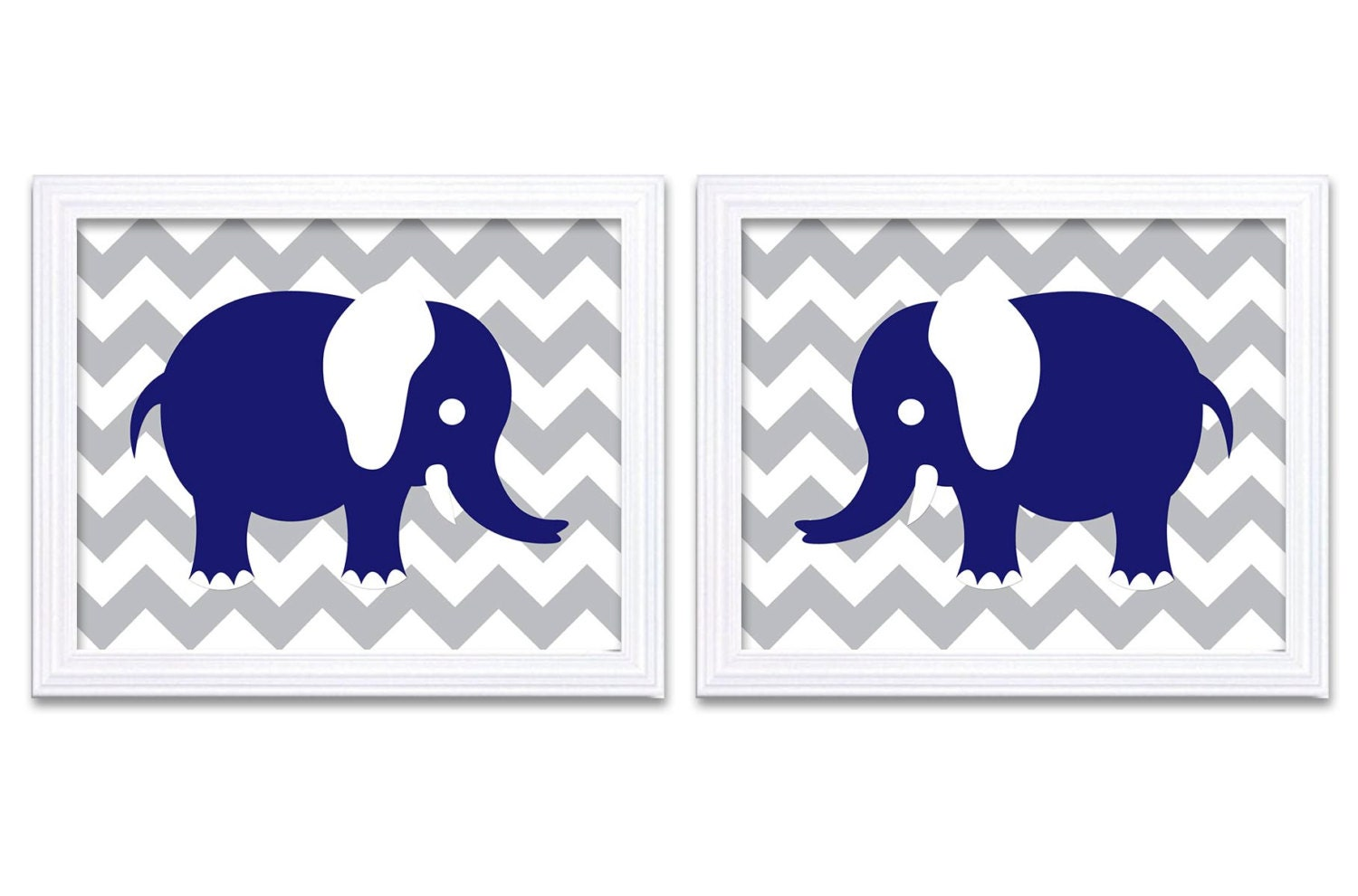 Elephant Nursery Art Nursery Print Set of 2 Elephants Navy Blue Grey Child Art Prints Boy Kids Room