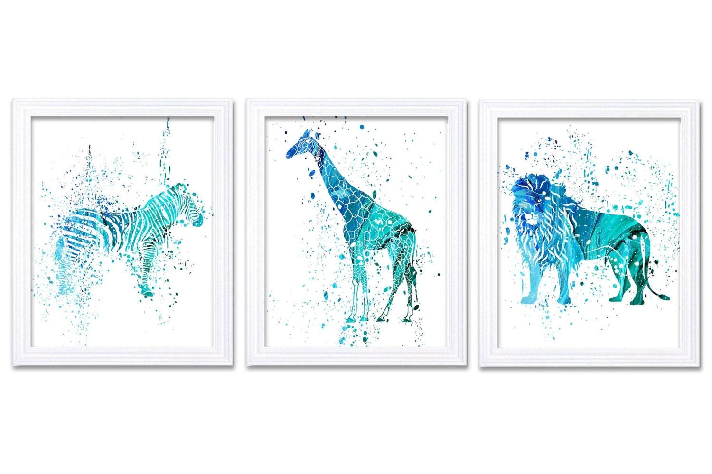Jungle Nursery Art Turquoise Blue African Safari Animals Painting Art Prints Set of 3 Zebra Giraffe
