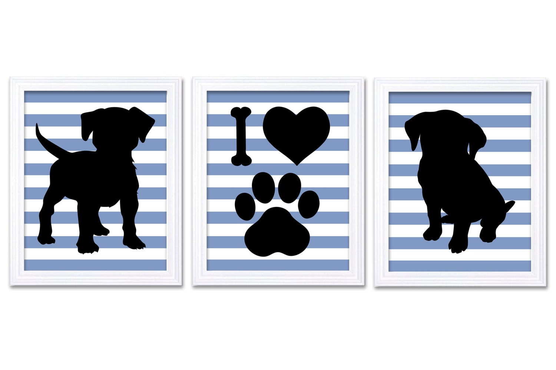 Puppy Dog Nursery Art Puppy Prints Set of 3 Prints Black Blue Gray Grey Stripes Baby Wall Decor I Lo