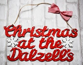 Family Christmas Sign, Christmas At Sign, Family Christmas Plaque, Personalised Christmas Sign, Surname, Christmas Sign Plaque, UK
