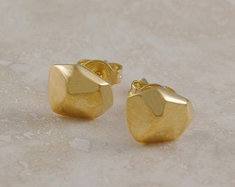 Gold Nugget Stud Earrings, Gold Studs, Organic Earrings, Stud Earrings, Sterling Silver, Gold Earrings, Bridesmaids Jewelry, Gold, Gift, 925