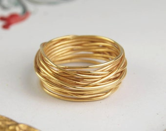 Solid Gold Ring, Gold Wire Ring, Wire Wrapped Ring, Gold Wire, Gold Ring, 18k Solid Gold, Real Gold, Ring, Solid Gold Jewelry, Solid Gold