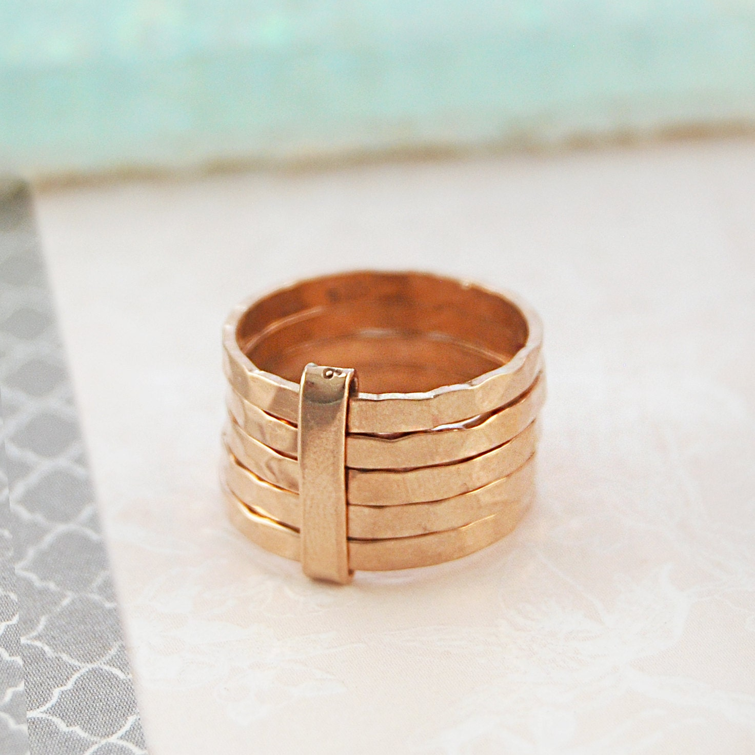 rose gold ring chunky gold ring textured ring stackable. Black Bedroom Furniture Sets. Home Design Ideas