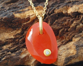 Red Necklace, Carnelian Necklace, Topaz Necklace, Gemstone Necklace, Organic Necklace, Gold Pendant, Birthstone Necklace, Geometric Pendant