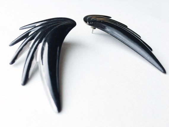 Vintage Black & Silver Wing Statement Earrings // Stocking Stuffer // Gifts for Her