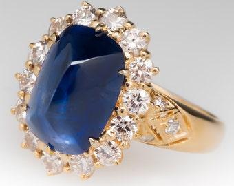 Vintage 4.7 Carat Sugarloaf Blue Sapphire & Diamond Halo Ring 18K Gold PT10924