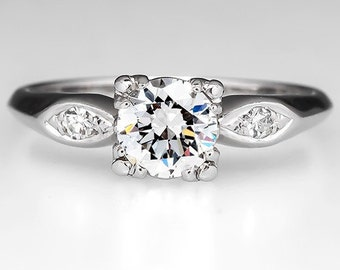 Vintage .81 Carat Diamond Engagement Ring W/ Diamond Accents Platinum PT9118