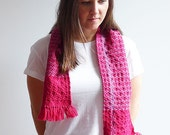 Scarf, Handwoven, 100% Natural Merino Wool, 200cm/100in long with Fringe, Pattern Pinwheel Twill Weave Scarf, Fuschia and Berry - Teacia