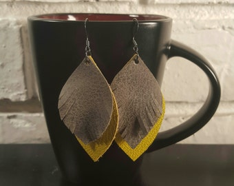Yellow and Pewter Leather Earrings