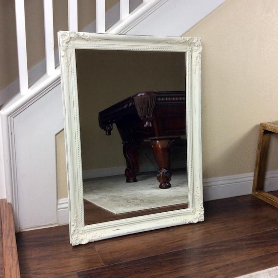 large white mirror wood framed mirror vanity mirror ornate. Black Bedroom Furniture Sets. Home Design Ideas