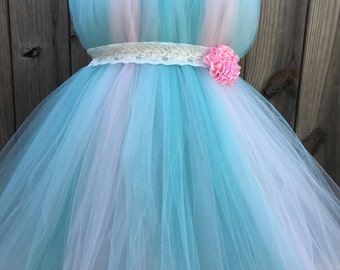 Aqua &Pink Tutu Dress - Aqua Flower Girl Dress - Pink Birthday Dress