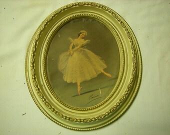 1 vintage frame-ballerina pictured-plastic frame-original Wondura frame-wall display-girl's room-retro-