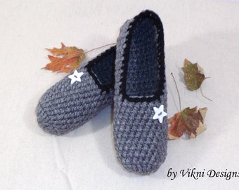 Extra Thick Crochet Slippers, Gray Womens Slippers, Indoor House Shoes by Vikni Designs