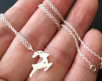 All sterling silver Reindeer Necklace - Sterling Silver nature necklace, deer necklace, holiday gift, christmas