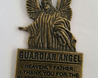 Vintage Guardian Angel key chain, protective angel, Heavenly Father, winged angel
