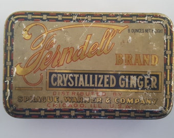 Antique Ferndell Brand Crystallized Ginger Tin, 8 oz size, hinged lid, Sprague, Warner & Company