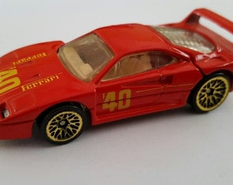 Vintage Mattel Hot Wheels Ferrari F40, loose intact decals. 1988 Malaysia