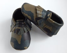 "Leather Camo 'Soldier Boy"" Baby/Toddler Moccasins"