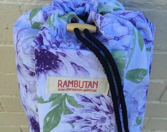 Yoga Mat Bag // Lilac Watercolour Flower // Floral Yoga Mat Bag // Handmade Bag // Yoga Accessory