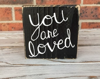 Mini Wood Signs, Shelf Sitter, Wood Word Blocks, You Are Loved, Inspirational Word Blocks, Gift For Her, Gift For Him, Mini Sign, Small Sign