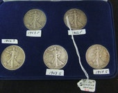 Vintage Walking Liberty Silver 5 pc Walking Liberty Half Dollar Coin Set - E10