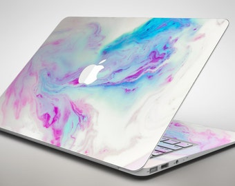 Marbleized Soft Blue V32 - Apple MacBook Air or Pro Skin Decal Kit (All Versions Available)