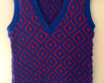 Vintage 1960's Blue and Red Knit Vest by Morsly