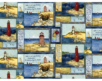 Country Lighthouse~Cotton Fabric~SPX Fabrics~Fast Shipping N334