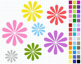 Flowers Digital Clip Art Pack, Rainbow Flowers Clipart, 43 Flowers, Illustration, Personal And Commercial Use - Instant Download