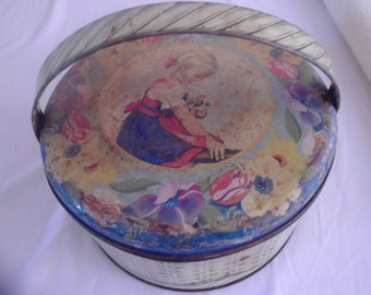VINTAGE PORTUGUESE biscuit cookie tin BASKET with handle kitchenalia