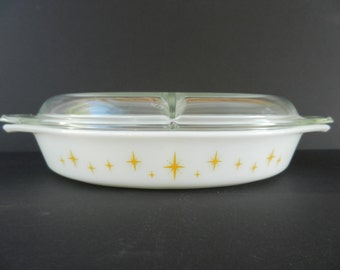 Pyrex Constellation Oval Divided Baker with Lid, 1.5 Quart, Baking Dish, Excellent Condition
