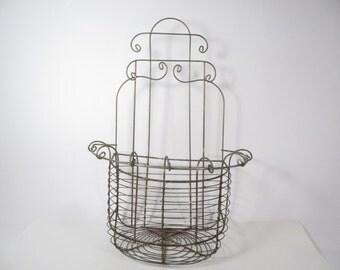 Vintage Wire Wall Basket - Wire Garden Basket