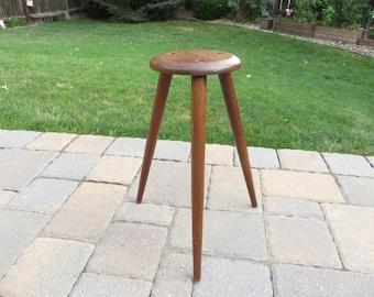 Vintage Wood Tripod Stand - Vintage Walnut Wood Tripod