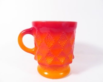 Vintage Fire King Kimberly Diamond Mug - Red Orange Ombre Fireking Mug