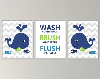 Children Bathroom Art Prints Wash Brush And Flush Wall Art For Bathrooms Whale