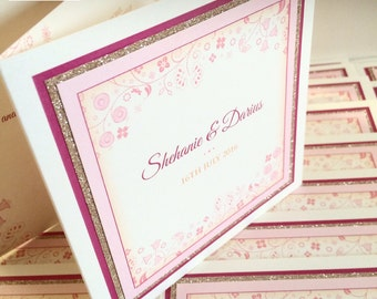 20 x Glitter Wedding Invitations, Floral Design Invites, Whimsical Pink and Gold Wedding (larger quantities available)