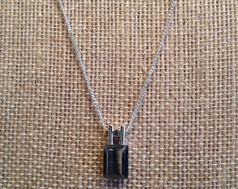 Simple and Sweet Dark Navy/Slate Blue Pendant necklace with Very Fine Silver Chain, 16 Inch Chain, Stone Has a Satin Sheen.