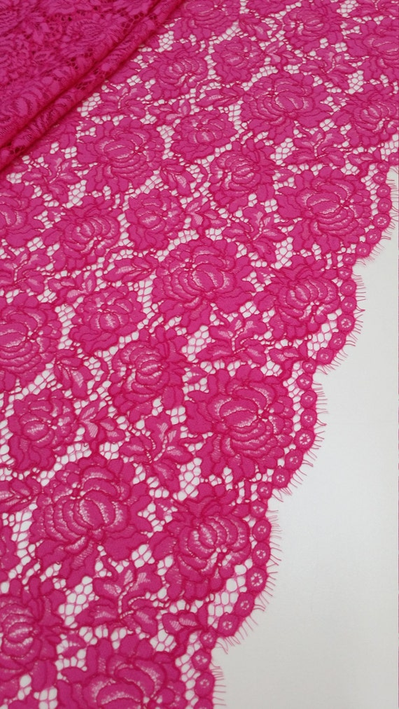 Pink Lace fabric, Spanish Lace, Embroidered lace, Wedding ...