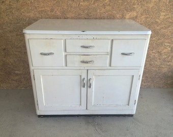 Kitchen Cabinet - Vintage Wood and Metal White Hoosier Style Kitchen Cabinet - Farmhouse Kichen Decor - Laundry Room Cabinet - White Cabinet