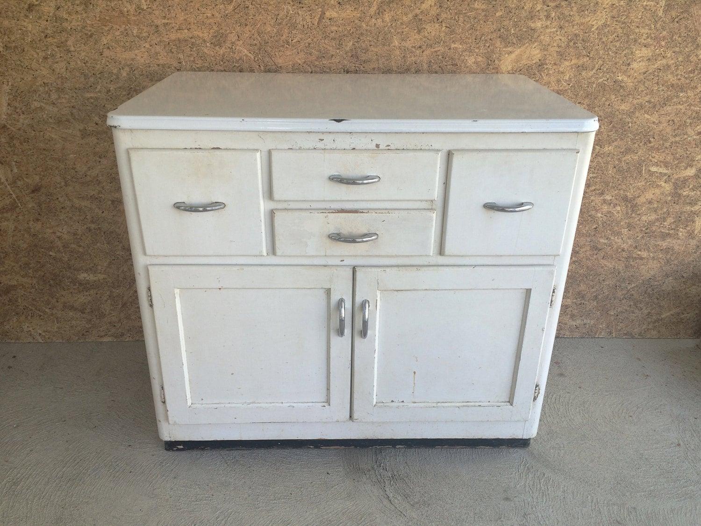 Kitchen Cabinet Vintage Wood and Metal White by Vintagietta - photo#9