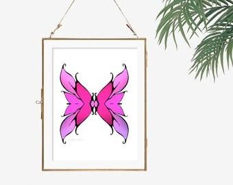 Hot pink wall art print illustration butterfly artwork abstract art geometric art fuchsia wall decor butterfly wing art modern room wall art