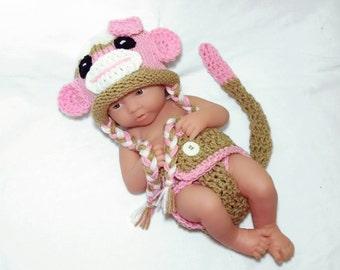 Newborn Sock Monkey Outfit newborn crochet outfit Baby Girl newborn photo prop crochet sock monkey outfit crochet baby photo prop