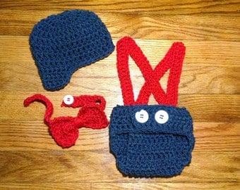 Newborn Crochet Hat and Tie Baby Boy Hat and Tie Newsboy Hat and Tie Outfit Pageboy Hat Necktie Newborn Photo prop
