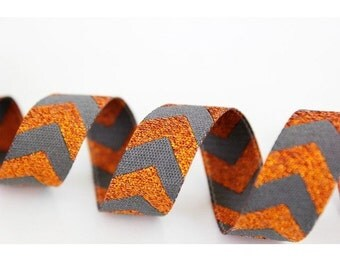 Ribbon color mix Chevron woven Ribbon, copper grey