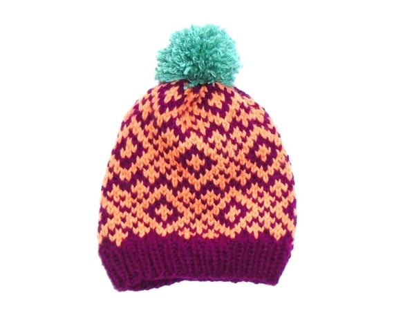 Knitting Patterns For Nordic Hats : Nordic Hat Hand Knitted Hat Bobble Hat by wildhoneydesign