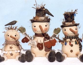 Primitive PATTERN Twigs Snowmen