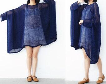 199---Linen Dress Oversized Blue Loose Tunic Dress