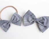 Baby Girl, Toddler, Girls Fabric Bow Nylon Headband or Hair Clip - Chambray